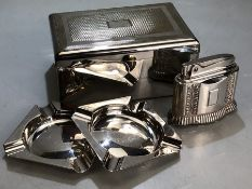 Walker and Hall Cigarette box and a pair of Small Walker & Hall Ash trays along with a Ronson