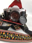 PRAKTICA camera and lens model MTL3 with Fujinon 1:1.8 lens and leather fitted case
