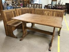 Pine kitchen table with L-shaped corner bench, table approx 123cm 79cm x 76cm tall, bench approx