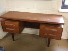 G-Plan Mid Century teak dressing table on tapered legs with four drawers, approx 145cm, x 46cm x