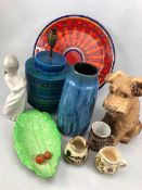 Collection of China to include large Silvac Dog, West German Vase and NAO figurine etc