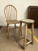 Single pine spindle back chair and a pine stool