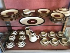 Collection of Denby stoneware to include teapot, cups and saucers, lidded soup bowls, gravy boat,