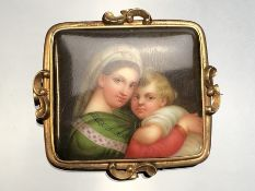 Russian Brooch hand painted on Porcelain of mother and child in Gold coloured (probaly 9ct) frame
