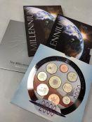 Coins: Millenium Royal Mint Five Pound cons (two of) plus Millenium 2000 collection the Millenium