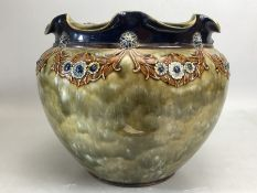 Royal Doulton Stoneware vase with crimp edge rim, decorated with floral sprays on a mottled green