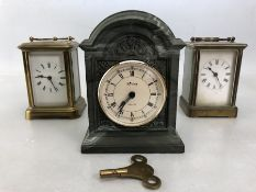 Three Mantle Clocks, two brass and one by Aynsley