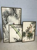 Collection of three Chinese ink paintings depicting birds, blossoms and bamboo with Chinese