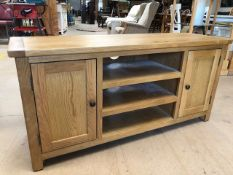 Small oak sideboard/TV unit with three drawers and two cupboards