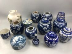 Collection of mainly Chinese ceramics to include a number of blue and white ginger jars with lids,