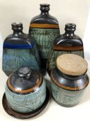 Collection of Celtic Pottery (Newlyn, Cornwall) to include three vases (one A/F) the largest