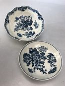 Two 18th Century Worcester Flower and butterfly pattern ceramic bowls the larger approx 15cm