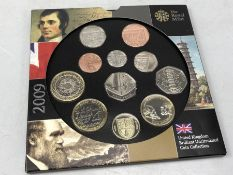 UK 2009 Royal Mint Uncirculated Coin Collection with Kew Gardens 50p present, 11 coins in total