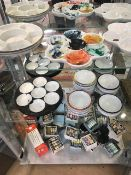 Large collection of Chinese art / painting items to include ceramic palettes and mixing pots and a
