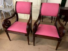 Pair of pink upholstered scroll armed carver chairs