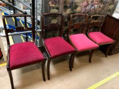Two pairs of similar design open chairs with turned and scroll detailing