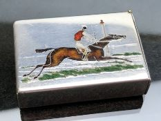 Victorian silver vesta case with enamel race horse passing the finishing post, London 1886, by