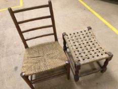 Rush seated child's chair and a rush-seated low stool