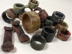 Collection of natural stone, Chinese / Eastern napkin rings, approx 17, mostly approx 3.5cm in