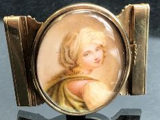 Gold Belt Buckle with a hand painted miniature of a young girl, engraved to the reverse and dated