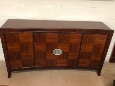 Large Oriental-style Mid Century curved sideboard with three cupboards and internal drawer, approx