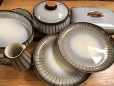 Collection of Denby stoneware dinner and tableware in grey stripe