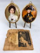 Pair of framed miniatures on easels, each approx 10cm in height, Napoleon and Josephine, Guardian