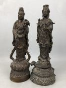 Two Eastern possibly Tibetan Bronze statues of Budha figures approx 33cm tall