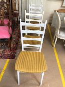 Four Danish white painted ladder back chairs by Mobelstoff Model 6244