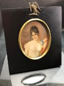 A miniature painting of Juliette Recamier, and signed Gerard
