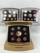 Royal Mint UK Year 2000, 2001 & 2002 executive proof coin collection set each with paperwork