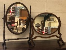 Two Victorian oval dressing table mirrors