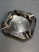 Solid silver hallmarked ashtray with engine turned decoration by H&H Ltd approx 60g 10.5cm square