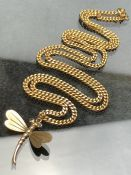9ct Gold curb link necklace and 9ct Gold pendant in the form of a dragonfly chain approx 56cm and
