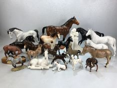 Large collection of china animals, largely horses, to included five Beswick horses, two Beswick