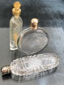 Two Georgian glass scent bottles and a lavender bottle, the tallest approx 8cm in height
