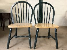 Pair of modern chairs with green painted slat back and pine seats