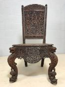 Vintage Burmese solid teak heavily carved side chair, approx 119cm height at back