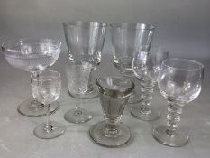 Collection of Antique glass to include Rummers, Cordial etc