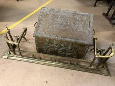 Brass fire surround, approx 123cm in length and a brass embossed coal scuttle with liner and shovel