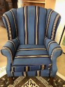 Modern upholstered fabric wing-backed chair