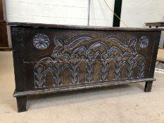 Carved oak coffer, approx 95cm x 38cm x 47cm tall