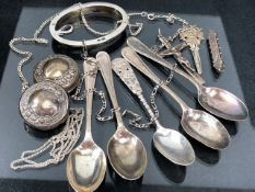 Collection of mostly scrap Silver items to include a set of four sheffield hallmarked spoons