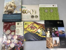 Collection of varius Royal Mint collectable coins: Nelson Trafalgar; The Floral two coin set 2013