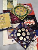 Royal Mint Coin Proof sets 1990- 1999 total sets nine