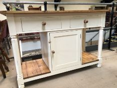 Cottage kitchen style pine and painted unit on turned legs with two drawers and cupboard, approx