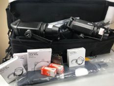 Bowens Gemini GM500R Lighting rig in large carry case on trolley to include 2 * tripods,