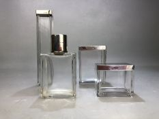 Collection of hallmarked Silver topped Art Deco Glass dressing table items