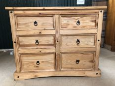 Large rustic-style pine chest of six drawers, approx 132cm x 48cm x 104cm tall