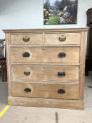 Pine chest of five drawers with metal handle detailing, approx 104cm x 49cm x 101cm tall